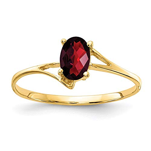 14k Yellow Gold 6x4mm Oval Garnet Checkerboard Cut Ring, Size 6