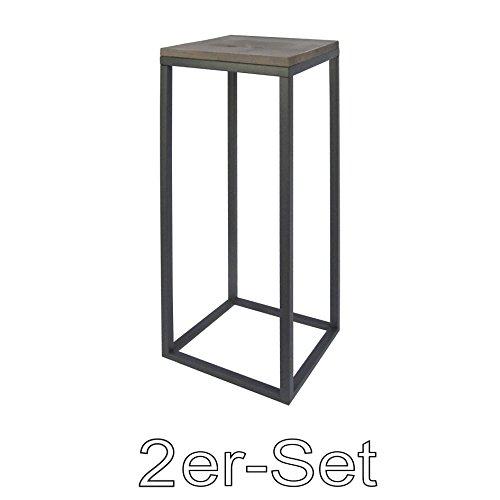 Metall Dekotisch mit Holzplatte high 2er Set Natura