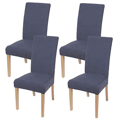 Homaxy Stretch Stuhlhussen Hussen für Stühle Stuhlbezug Waschbar Elastische Moderne Stuhl Esszimmer überzug - Dunkelgrau, 4er Set