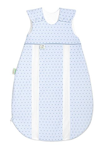 Odenwälder Jersey-Schlafsack prima klima springing dots sky blue, Größe:90