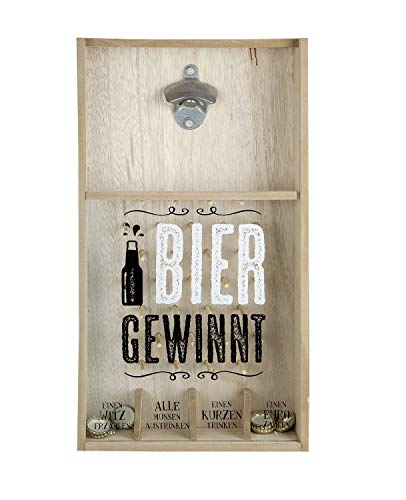 GILDE Tolles Kronkorkenspiel Flaschenöffner, Holz, Braun, 48 cm