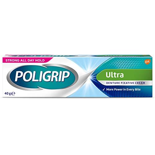 Poligrip Denture - Crema adhesiva, dientes falsos y parciales fijador, ultra 40 g