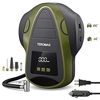 TEROMAS Tire Inflator Air Compressor Portable DC/AC Air Pump for Car Tires 12V DC and Other Inflatables at Home 110V AC Digital Electric Tire Pump with Pressure Gauge  Green