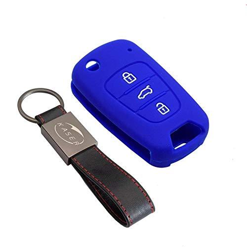 kaser Funda Silicona para Kia Hyundai – Carcasa Llaveros 3 Botones para Coche Sportage Piccanto Rio i30 ix20 ix35 Cover Case Protección Remoto Mando Auto (Azul)