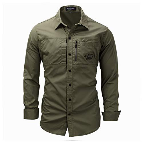 Camisa Casual Estilo Militar de Manga Larga de los Hombres de Carga táctico Camisa del Trabajo Resistente al Desgaste y Resistente a Las Manchas,XXXL