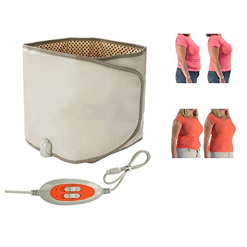 Slimming Belt with Hot Compress & Vibrating Massage Function Weight Losing Health Care Tools Heating Massager Fitness Device(Brown)