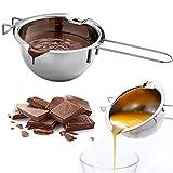 olla de fusión de acero inoxidable, Cuenco de fusión de baño de agua crisol recipiente de fusión doble boquilla mango resistente al calor base plana para chocolate derretido caramelo de queso 400 ml