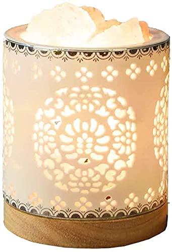 Lámpara de pared de moda regulable dormitorio mesita de noche lámpara de mesa cristal sal lámpara de mesa Himalaya noche creativa moda regalos madera iluminación accesorios cerámica escritorio luz