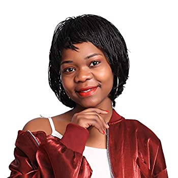 12 inch Short Braids Wigs for Black Women African American Synthetic Crochet Box Braid Wigs with Bangs  1B