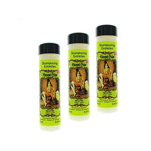 Lot 3 Shampoings Henné Neutre 100% Naturel Soin Nourrissants Sans Sulfate Sans Parabène Entretien Pour Cheveux De 250 ml