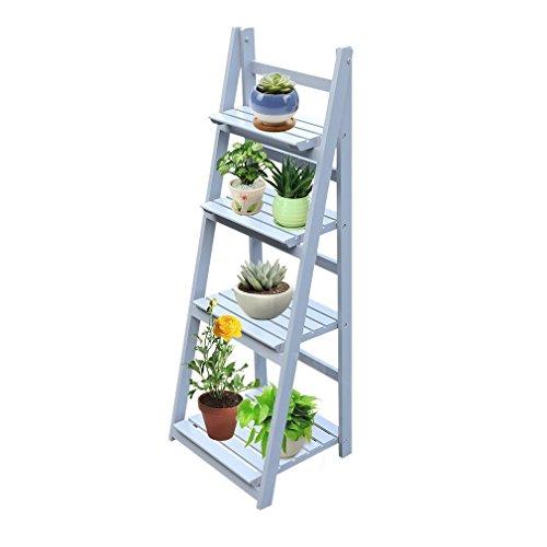 Regal Leiter Treppe aus Holz Wandregal Regal Stil Leiter Bibliothek Aufbewahrung Buch Blume 4Etagen Faltbar für Wohnzimmer Badezimmer Waschtisch-Aufbewahrungsbeutel grau