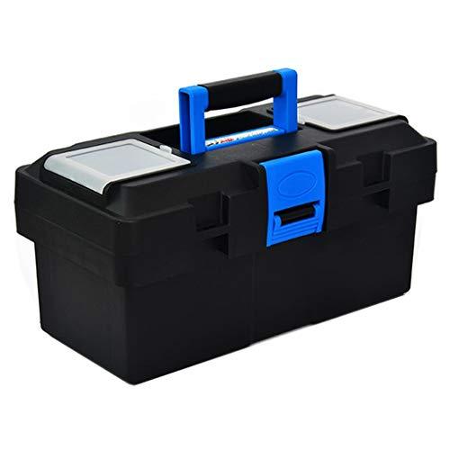 Xinxinchaoshi Caja de Herramientas de plástico con Bandeja y asa cómoda y Caja de Herramientas con Cierre para Almacenamiento de Piezas de Herramientas diarias (Color: Negro-A)