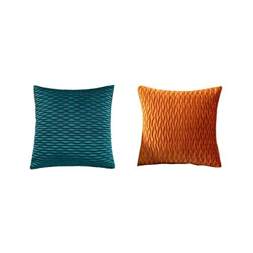 QXbecky Cojines Sofas Cojines y Accesorios Fundas de Cojines Funda de Almohada Cuadrada con patrón de Tijera Plisada de Terciopelo de Color sólido sin núcleo de Almohada 2~4 Piezas Almohada de sofá