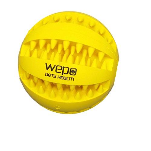 WEPO® Hundespielzeug/Hundeball - Kauspielzeug mit Zahnpflege-Funktion - Naturkautschuk Ball - Snackball/Futterball - Welpenspielzeug - Gelb