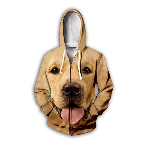 BEAUTYL Pullover Hoddie Hundekopfschuss Husky Shiba Inu Golden Retriever Hund Lustiges Emoji Sweatshirt 3D Digital Animal Emoji Druck Loses Paar Zip Sweatshirt, K, 6XL