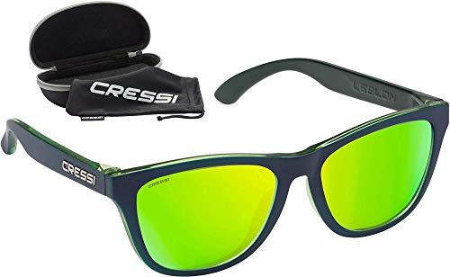 Cressi Leblon Sunglasses, Occhiali da Sole Sportivi con Custodia Rigida Unisex Adulto, Blu/Blu-Lente Specchiata Lime, Unica