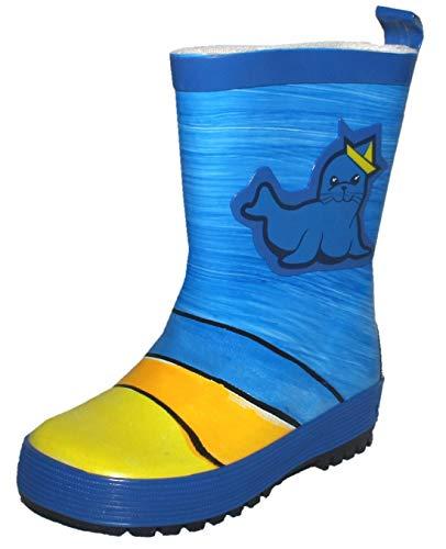 maximo Kinder-Gummistiefel Regen-Stiefel, blau für Jungen Motivl Robbe Kinder-Stiefel, handbemalt jeder Stiefel EIN Unikat (23 EU)