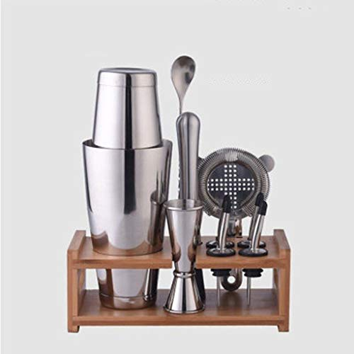 Cocktail Shaker Set 10 Piece Boston Shaker Set for Bartenders - Home Bar Set Accessories, Stainless Steel Bartender Kit with Shakers, Strainers, Jigger, for Cocktails Mixology Bartender Kit with Shake