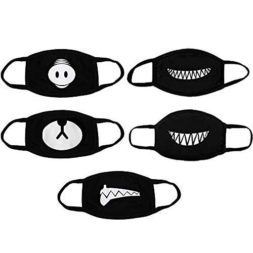 O³ Mundschutz masken mit Smiley Motiv // 5 Stück – Schwarz // Aus Baumwolle bunt, lustig, komisch für Männer, Frauen und Kinder // Waschbar & Wiederverwendbar