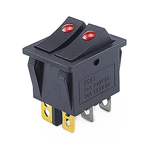 LLMXFC KCD3-201 6Pin ON/Off 31.5 * 26mm 1 5A 20A / 125V / 250V Interruptor de Casco de la Nave de Ojos Gemelos Gemelos