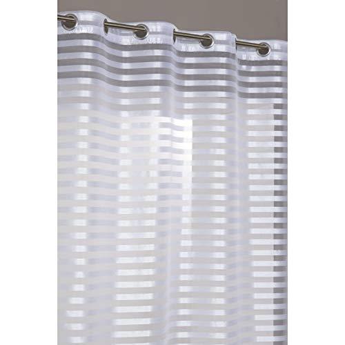 RideauDiscount Voilage 140 x 240 cm à Oeillets Brillant Aspect Soie à Rayures Opaques Blanc