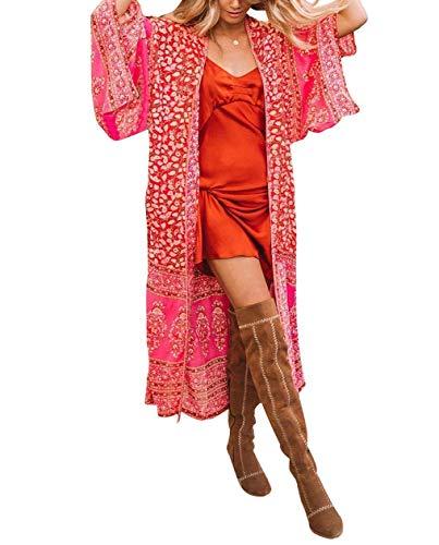 Carolilly Copricostume Donna Mare Cardigan Donna Lungo Estivo Abito da Spiaggia Bikini Cover Up Sexy Elegante Vestito Donna Boho per Vacanza Copricostume Lungo (Rosso, Taglia Unica)