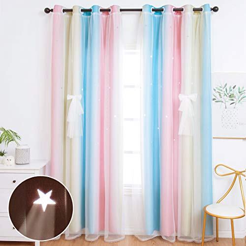 Unistar 2 Panels Blackout Stars Curtains for Kids Girls Bedroom Aesthetic Living Room Decor Colorful Double Layer Star Cut Out Stripe Pink Rainbow Window Wall Home Decoration Curtain W52 x L84 Inches