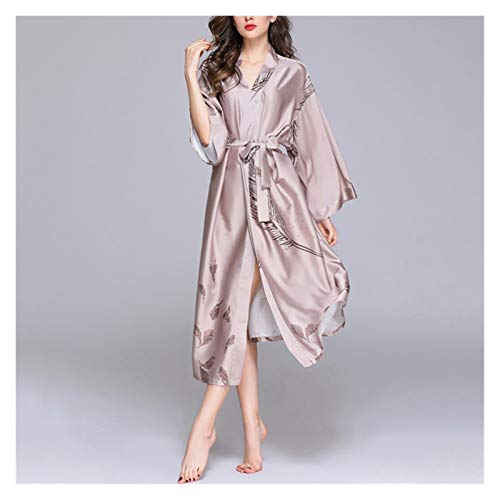 zyy Verano Fino Suelto camisón Femenino Hielo Seda Largo Albornoz Albornoz baño Seda Vestido Vestido más tamaño Pijamas Conjunto (Size : XXL)
