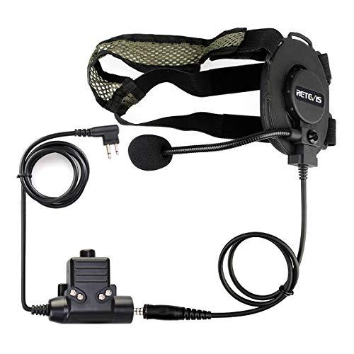 Retevis Auriculares Militares Tácticos Compatibles con Motorola CP040 DP1400 GP300 GP2000 Hyera Midland 2 Way Radio (1 Pieza)