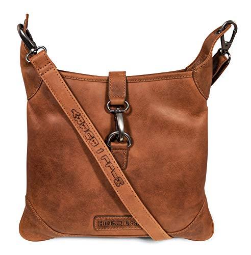 Hill Burry Damen Shopper   aus weichem hochwertigem Rindsleder - Vintage Elegante Fashion Bag Beutel   Umhängetaschen Schulterbeutel - Abendtasche   Handtasche - Schultertasche (Braun)