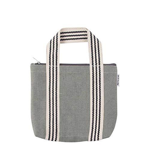ARTEBENE Mini Bag Handtasche Smartbag Tragetasche verschließbare Tasche Organics Jute Grau