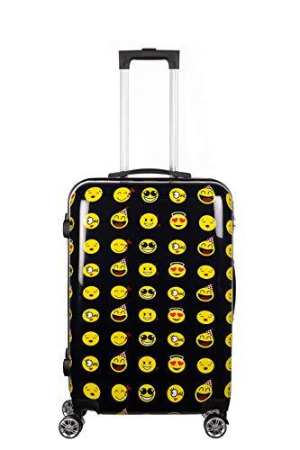 Birendy Reisekoffer Polycarbonat Hartschalen Hardcase Trolley mit Zahlenschloss Koffer Kofferset 4 Rollen einfacher Transport (A6-Emoji schwarz, Koffer XL 65x45cm)