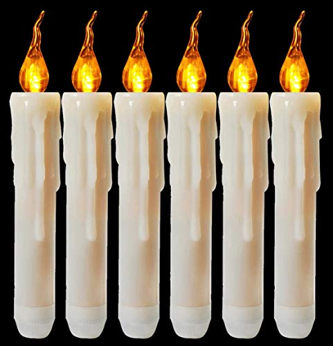 Houdlee Set of 6 Wax Dripped Amber Flickering Flameless Taper Candle, LED Battery Operated Taper Candles for Christmas, Wedding, Candelabra, Party, Sconces, Home Decor - Batteries Not Included