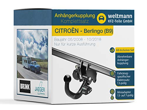 Weltmann Mundo Muñeco 7d030006Citroën Berlingo + Buzón (B9)–Desmontable Remolque (Incluye Anillo Adaptador de 13Pines Juego eléctrico