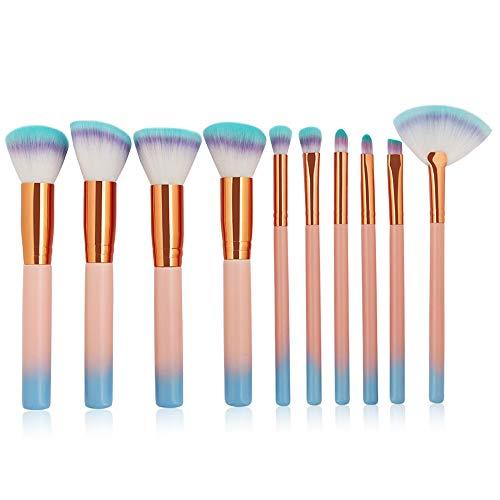 Ensemble de brosse de maquillage, 10 PCs Premium brosses cosmétiques pour la Fondation lâche poudre blush correcteur ombre à paupières, fibres synthétiques soies