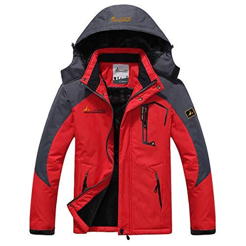 Panegy - Chaqueta de Nieve para Invierno Hombre Deportes Esquí Ski con Capucha Impermeable Grueso a prueba a viento - Rojo - Talla XXXL