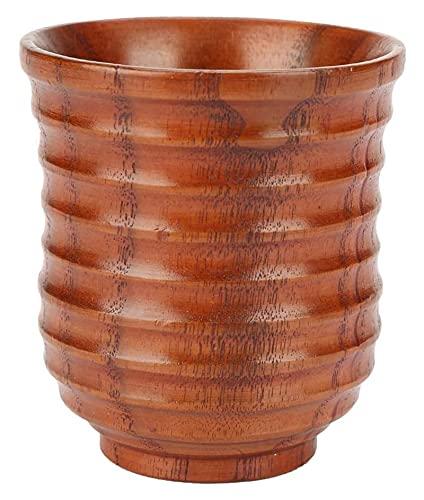 Youdert Taza de Bebida de Madera Té café Leche de Cerveza Taza de Viaje Classical Natural Cilíndrico Forma de Madera Hilo de Madera Taza de té (Color : Bronze)
