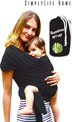 Simple Being Baby wrap Sling Carrier, Stretchy Bamboo Fabric, Soft Breathable Lightweight for Infants, New-Borns, Toddlers. Hypoallergenic, ergonomically Designed, one Size (Black)