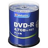 Verbatim バーベイタム 1回記録用 DVD-R 4.7GB 100枚 ホワイトプリンタブル 1-16倍速 片面1層 DHR47JP100V4