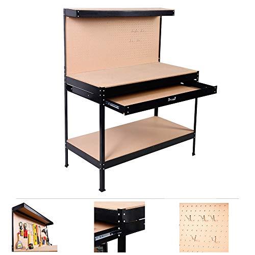 Grafner® XXL Werkbank | Lochwand | Schublade | 150cm x 120cm x 60cm | Profi-Ausführung | stabil | Werktisch Packtisch Werkstatttisch Werkzeugwand