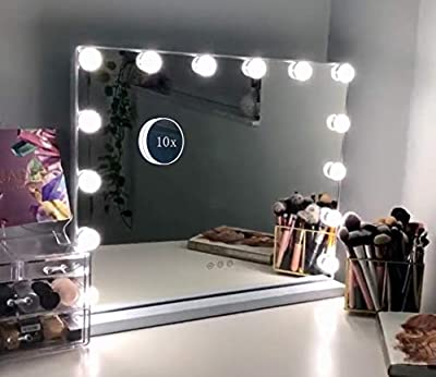 Hansong Vanity Makeup Mirror with Lights,Hollywood Lighted Mirror with 14 pcs Dimmable Led Bulbs for Dressing Room & Tabletop Mirror or Wall Mounted,Slim Metal Frame Design, White