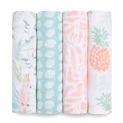 aden + anais essentials 100% Cotton Muslin Swaddle & Receiving Blanket for...