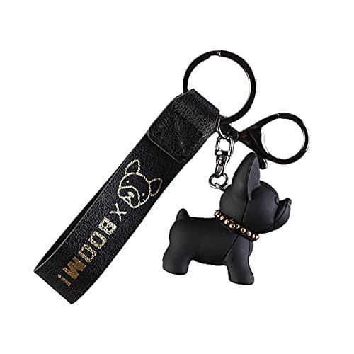 Benoon Llaveros con colgante de Bulldog Francés, colgantes de teléfono Llaveros para mujer, regalos de teléfono inteligente colgante para pareja, color negro