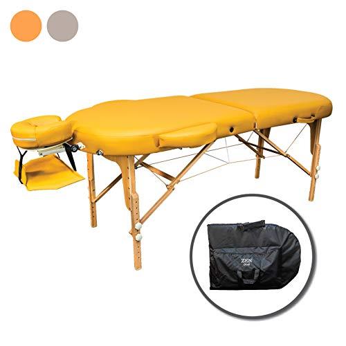 Zen Oval   Massage-Liege klappbar und höhenverstellbar Voll-Holz, PU-Bezug, Alu-Kopfstütze   TÜV zertifiziert (Safrangelb)