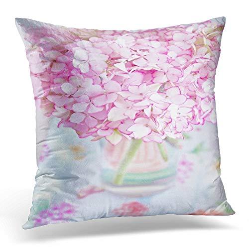 N\A Throw Pillow Cover Green Pastel Beautiful Pink Hydrangea Flores en jarrón sobre Mesa Arreglo Funda de Almohada Decorativa Decoración para el hogar Funda de Almohada Cuadrada