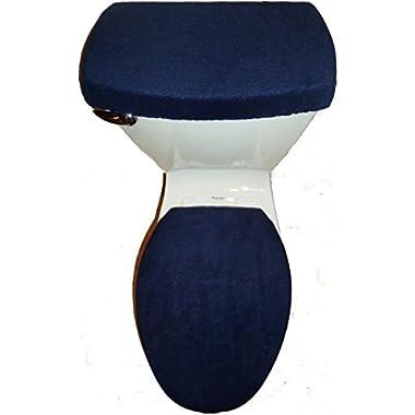 NAVY BLUE Fleece Fabric Toilet Seat Cover Set Bathroom Accessories