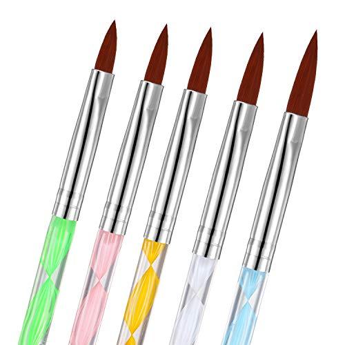 5 Piezas Pinceles de Pintar Uñas Pincel de Gel UV Cepillo Constructor de Arte de Uñas Pluma de Pincel de Uñas Acrílicas para Pintar Dibujar Puntar