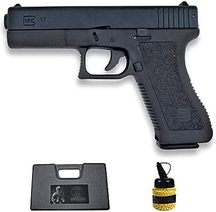 Pistola HFC-117 G17 Negra (6MM) | Arma Corta de Airsoft (Bolas de plástico) Tipo G-17 + maletín PVC + biberón