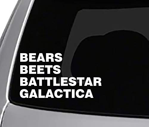 Seek Racing Bears Beets Battle Star Galactica Decal CAR Truck Window Sticker The Office Dwight Joke Funny