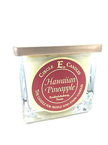 Circle E Hawaiian Pineapple Scented Jar Candle   Size 22oz   110 Hour Burn Time   2 Wicks   Wax Color Yellow   Glass Jar   Made in USA